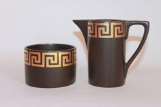 Brown Portmeirion sugar bowl and milk jug Gold by MillCottageRetro
