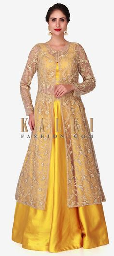 Yellow lehenga with beige jacket featuring the moti and cut dana embroidery work only on Kalki Choli Designs, Blouse Designs, Pakistani Outfits, Indian Outfits, Floral Skirt Outfits, Gown With Jacket, Yellow Lehenga, Indian Skirt, Long Gown Dress