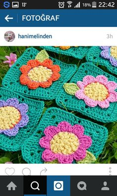 Flower granny square crochet forthehome crochet t Crochet Blocks, Crochet Squares, Crochet Blanket Patterns, Crochet Granny, Crochet Motif, Crochet Flowers, Crochet Stitches, Knit Crochet, Granny Squares