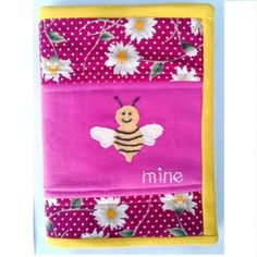 """Handmade """"Bee mine"""" notebook cover / journal cover"""
