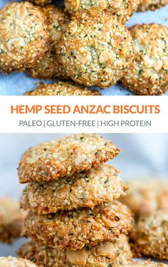 Made with hemp seeds almonds and maple syrup for that unforgettable sweet and chewy cookie experience. Dairy Free Recipes, Paleo Recipes, Cooking Recipes, Snack Recipes, Healthy Bars, Healthy Desserts, Anzac Biscuits, Delicious Vegan Recipes, Paleo Vegan