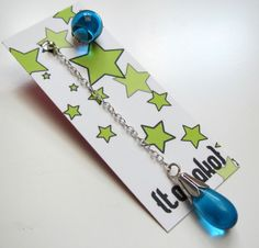 Asymmetrical aquamarine glass earrings  medium by TamakoJewelry, €32,00