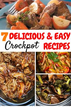 This roundup is filled with 7 mouthwatering easy slow cooker recipes. These are all cheap healthy slow cooker recipes and I can't wait to try every single one! Crockpot meals are my favorite for dinner! This roundup has beef, pork, vegetarian, chicken, and soup crockpot recipes for the whole family, even for kids!