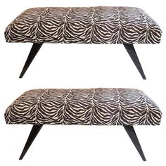 Wonderful Pair Mid-Century Modern Black Lacquered Jansen Benches Jacques Tournus   From a unique collection of antique and modern benches at https://www.1stdibs.com/furniture/seating/benches/