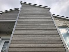 Gray siding colors (Gray Rustic) Gray Siding, Exterior Siding, Vinyl Siding, Engineered Wood Siding, Composite Siding, Vertical Siding, Siding Options, Modern Minimalist House, Siding Colors
