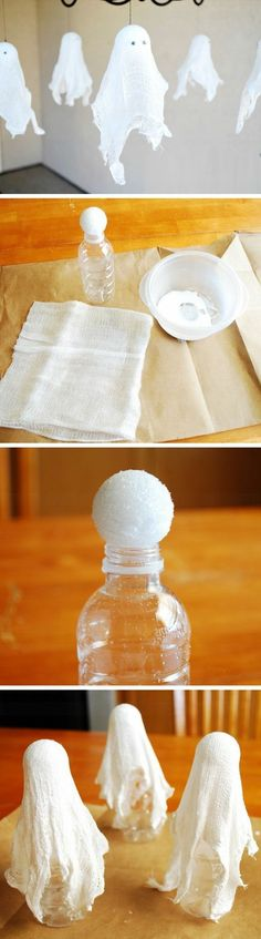 DIY Hanging Cheesecloth Ghosts Click Pic for 27 DIY Halloween Decorating Ideas for Kids Easy Halloween Party Decor Ideas for Kids Deco Haloween, Halloween Birthday, Diy Halloween Decorations, Holidays Halloween, Spooky Halloween, Halloween Treats, Halloween House, Homemade Halloween, Halloween Mural