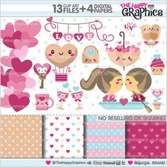 Valentine Clipart Love Clipart Valentines Day by TheHappyGraphics
