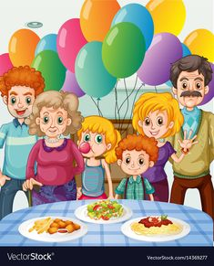 Family having party at home vector image on VectorStock Cartoon Pics, Cartoon Drawings, Cartoon Picture, Picture Composition, Happy Pregnancy, House Vector, Preschool Writing, Garden Illustration, Kids Play Area