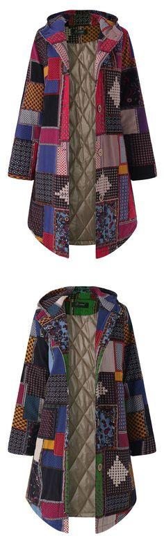 O-NEWE Geometric Printing Hooded Long Sleeve Thick Coat