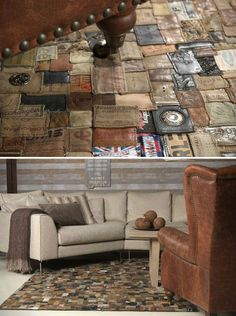 Recycled leather pieces into a rug.very unique. Recycled Leather, Recycled Art, Repurposed, Pallet Furniture, Cool Furniture, Cool Rugs, Rug Making, Diy Home Decor, Interior Decorating