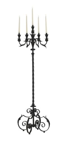 Acanthus 5 Taper Wrought Iron Floor Candelabra Candle Holder