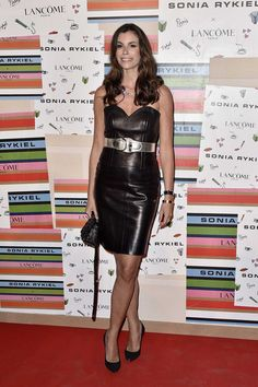 Christina Pitanguy attends the Sonia Rykiel & Lancome Paris Party black leather dress and high waisted silver belt