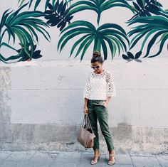 7 fashionable outfit ideas to try before summer ends, from the best dressed bloggers on Instagram: Alexandra Pereira in a white lace top and green cargo pants