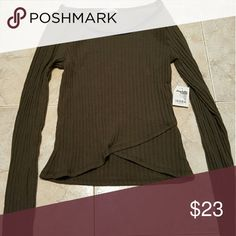 New xs charlotte russe olive top New with tags Olive color and black leather detail Xs charlotte russe  Tops Blouses