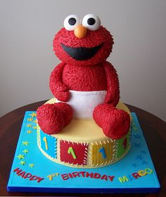 Elmo and Cookie Monster cake cakes Pinterest Cookie monster