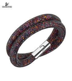 Swarovski Crystal STARDUST Dark Multi Color Double Bracelet Medium 5152144