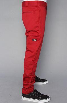 Dickies RARE Skater Emo Skinny Straight Leg Mens Dark Red Work Pants Sizes 29 38 | eBay
