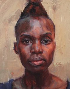 """Achieng"" - David Maiden, oil on linen, 2013 {figurative #impressionist art female head mohawk black woman face portrait cropped painting detail} davidmaiden.co.uk"