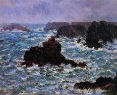 """""""Belle-Ile, Rain Effect"""" by Claude+Monet, 1886 ・ Style: Impressionism ・ Genre: landscape"""