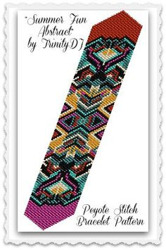 BP-PEY-017 - Summer Fun Abstract - Odd Count Peyote Stitch Bracelet Pattern - One of a Kind In The Raw Design