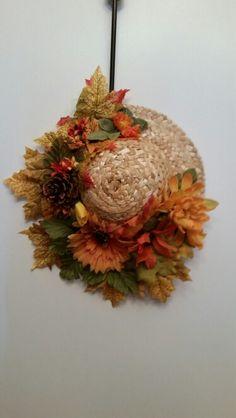 """Fall straw hat """"wreath"""""""