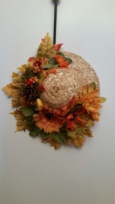 "Fall straw hat ""wreath"""