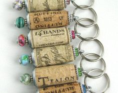 Wine cork keychains (Set of 10), beaded cork keychains, cork keyring, bridesmaids gift, wedding favors