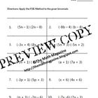 FOIL Method Multiplying Binomials Worksheet with Key A-SSE.3b, A-APR.1, 4  This is a PDF Worksheet containing (10) problems that provide practice w...