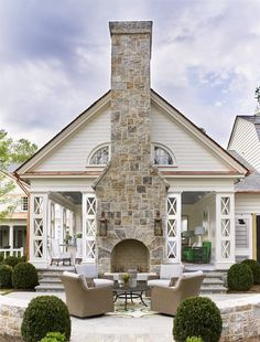 Existing Carport with Fireplace and patio Outdoor Rooms, Outdoor Living, Indoor Outdoor, Outdoor Stone, Design Exterior, House With Porch, Traditional House, My Dream Home, Future House