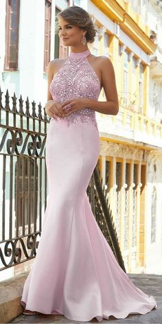 Unique Prom Dresses, Fantastic Satin High Collar Neckline Mermaid Prom Dress With Beadings, There are long prom gowns and knee-length 2020 prom dresses in this collection that create an elegant and glamorous look Unique Prom Dresses, Long Prom Gowns, Formal Dresses For Weddings, Popular Dresses, Mermaid Prom Dresses, Party Dresses For Women, Cute Dresses, Evening Dresses, Bridesmaid Dresses