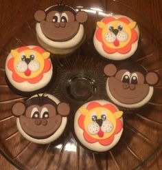 Lion and Monkey cupcake toppers for a baby shower