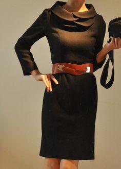 Black Virgin Wool Tiered Petalcollar 9/10 Long Sleeves by yystudio, $259.80