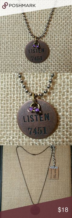 "Amalie Peters Ball Chain Charm Necklace Dog Tag This is for a brand new, beautiful necklace by Amalie Peters Designs. It is a copper ball chain with a circle dog tag charm. The charm says ""Listen"" and has 2 purple seed beads for a cute detail. Stamped with numbers. I have this necklace with many words and other colors. Made in the USA with quality materials. Can change the seed bead colors to any other color. This style necklace was donated by Amalie Peters Designs to girls in Thailand…"