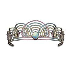 BLACK RAINBOW TIARA-Solange Azagury-Partridge.An open work tiara set with an oval black Opal surrounded by tiers of Diamonds and precious stones in blackened 18ct white gold
