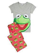 Grey (Grey) Teens Grey Kermit the Frog Pyjamas | 260276204 | New Look