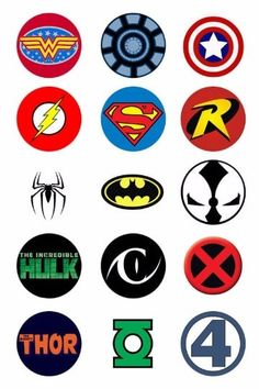 Super Hero Logo Pinback Buttons 5 pk by DropKickQueen on Etsy