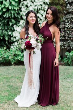 Bride and bridesmaid in red