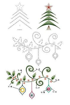 card embroidery - branch with ornaments