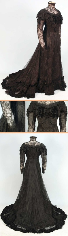 ~One-piece black lace evening gown, Bonnaire, Paris, ca. 1906~   Boned high-necked bodice, ruffled across shoulder with interwoven black velvet trim and bows. Trained skirt with ruched velvet scallops above graduated velvet hem bands. Silk satin underskirt with ruffled hem; back hook & eye closure. Whitaker Auctions