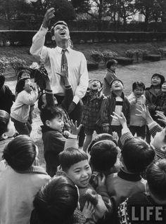 Robert F. Kennedy with Japanese children. Location:Tokyo, Japan Date taken:February 1962 Photographer:John Dominis