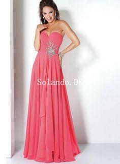 e478742314bb Elegant Watermelon Sweetheart Pleated Chiffon Gulvlang Dimission Kjoler  Cosplay Costumes