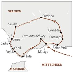 Andalusien Karte der Reiseroute