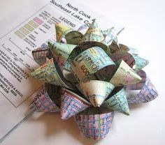 bows made from recycled items...this one is made from an old map. So cool! For all my friends and family: you may have a recycled handmade bow on your Christmas gifts this year! :)