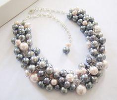 Bridesmaid Pearl Necklace Bridesmaid Jewelry Blush by SLDesignsHBJ