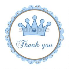 Prince Labels - Prince Tags Prince Thank You Stickers Prince Baby Shower Labels Blue Brown Prince Cr Baby Shower Labels, Baby Shower Party Favors, Baby Shower Parties, Baby Shower Invitations, Baby Showers, Thank You Stickers, Thank You Tags, Birthday Favors, Boy Birthday