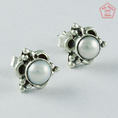 PEARL STONE STYLISH DESIGN 925 STERLING SILVER EARRINGS STUDS JEWELRY ST5666 #SilvexImagesIndiaPvtLtd #Stud