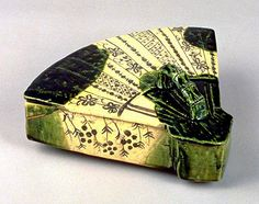Fan Shaped Oribe Covered Box Mino, Oribe ware Proportions: 11.3 x 29.7 x 24.8 cm Momoyama Period (16th Century) GK 469  From Kyoto national museum http://www.kyohaku.go.jp/eng/syuzou/index.html