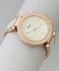 Mint & Rose Gold Boyfriend Watch