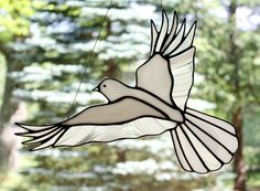 White Dove Stained Glass Bird Large Suncatcher, Peace Dove, Memorial Dove, Wedding Dove, Glass Art