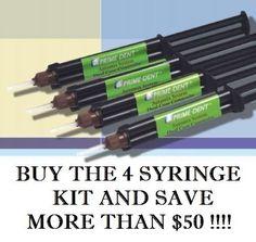 Adhesive Cement Dental Luting 4 Syringe Kit A2 -Dual Cure Composite - Prime Dent #PrimeDent